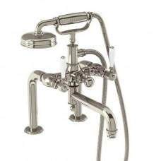 Смеситель для ванны набортный, ручки - леверы белые, никель [ARC18 + ARC65 NKL]
