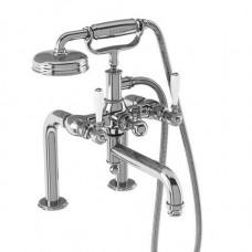 Смеситель для ванны набортный, ручки - леверы белые, хром [ARC18 CHR + ARC65 CHR]