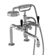 Смеситель для ванны набортный, ручки - леверы чёрные, хром [ARC18 CHR + ARC66 CHR]