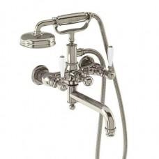 Смеситель для ванны настенный, ручки - леверы белые, никель [ARC19 + ARC65 NKL]