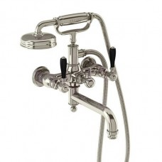 Смеситель для ванны настенный, ручки - леверы чёрные, никель [ARC19 + ARC66 NKL]