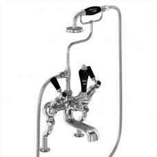 Смеситель для ванны «под наклоном» и ручным душем, набортный [KE19 BLA]